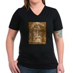 Shroud of Turin Women's V-Neck Dark T-Shirt