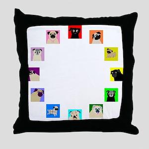 CircleOPugs Throw Pillow