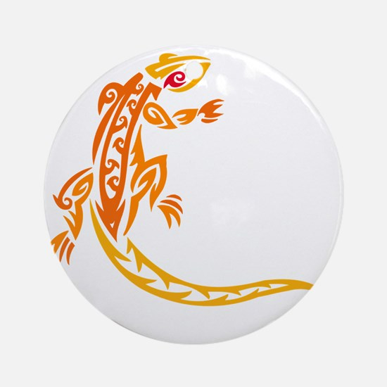lizard_1 orange 8x7_ Round Ornament