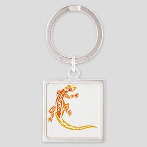 lizard_1 orange 8x7_ Square Keychain