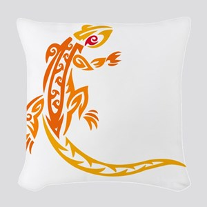 Lizard orange 10x10 Woven Throw Pillow