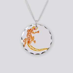 Lizard orange 10x10 Necklace Circle Charm