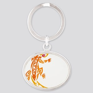 Lizard orange 10x10 Oval Keychain