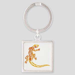 Lizard orange 10x10 Square Keychain