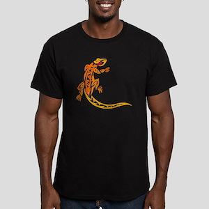 Lizard orange 10x10 Men's Fitted T-Shirt (dark)