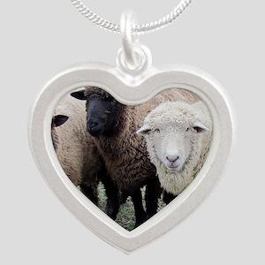 3 Sheep at Wachusett Silver Heart Necklace