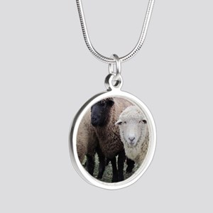 3 Sheep at Wachusett Silver Round Necklace