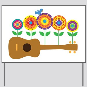Ukulele Flowers Yard Sign
