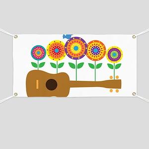 Ukulele Flowers Banner