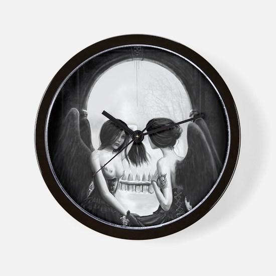skull illusion square Wall Clock