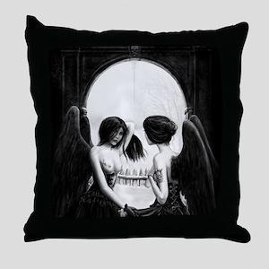 skull illusion square Throw Pillow
