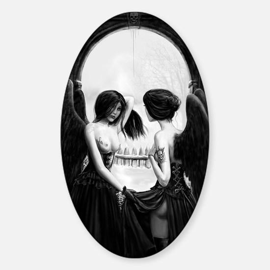skull illusion Sticker (Oval)