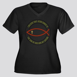 feb12_christ Women's Plus Size Dark V-Neck T-Shirt