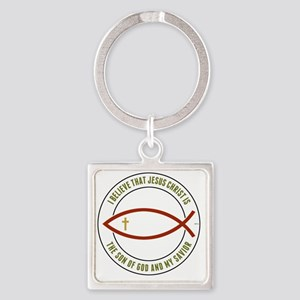 feb12_christian_fish_colors Square Keychain