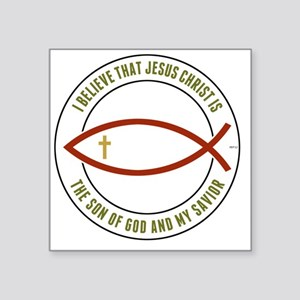 "feb12_christian_fish_colors Square Sticker 3"" x 3"""