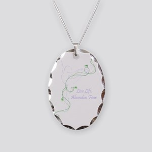 Arabesque with tag line color  Necklace Oval Charm