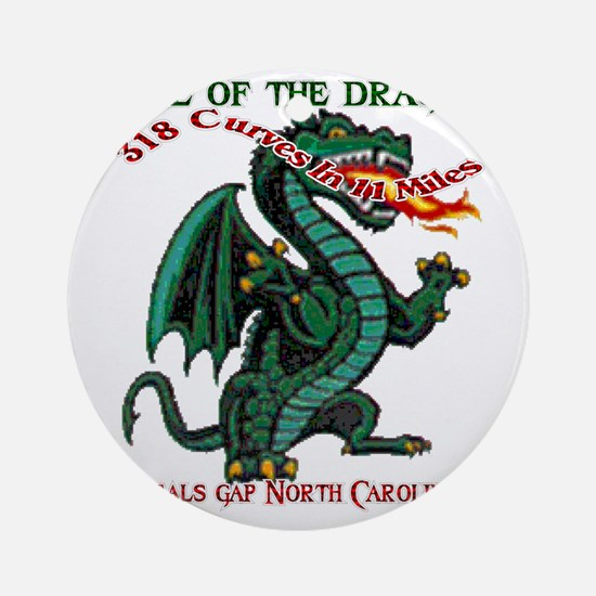 Flaming Dragon Tail of the Dragon D Round Ornament