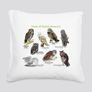 Owls of North America Square Canvas Pillow