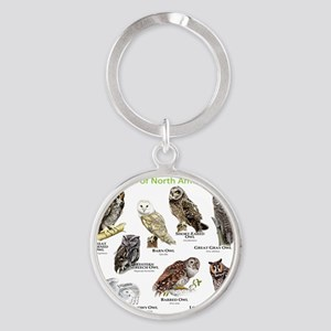 Owls of North America Round Keychain