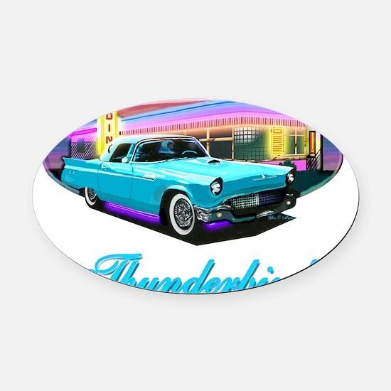 Thunderbird Diner Blue copy Oval Car Magnet