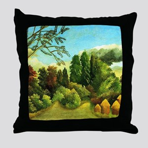 Henri Rousseau: View of the Banks of  Throw Pillow