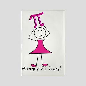 happy pi day stick lady pink w nu Rectangle Magnet