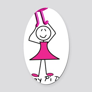 happy pi day stick lady pink Oval Car Magnet