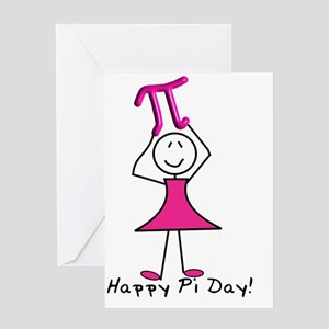 happy pi day stick lady pink Greeting Card