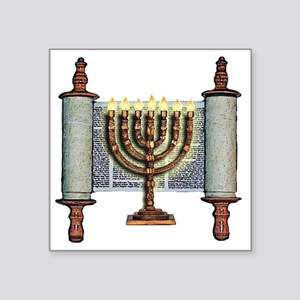 "Torah Menorah Square Sticker 3"" x 3"""
