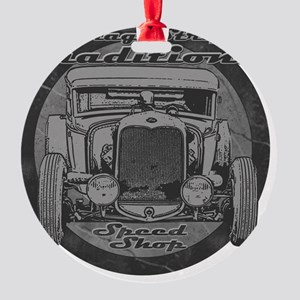 drag strip traditions BW Round Ornament