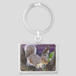 grey squirrel on tree Landscape Keychain