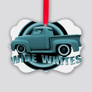 wide whites blue Picture Ornament