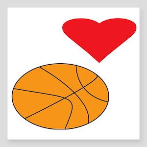 "I Love Basketball DARK Square Car Magnet 3"" x 3"""