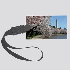 Peal bloom cherry blossom frames Large Luggage Tag