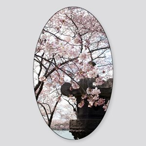 Peak Bloom Cherry Blossom around Ja Sticker (Oval)