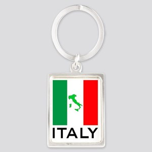 italy_flag_small_map02 Portrait Keychain