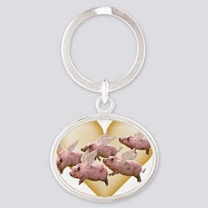 CP-tee-airborne-front Oval Keychain