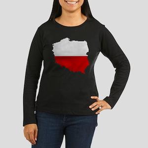 """""""Pixel Poland"""" Women's Long Sleeve Dark T-Shirt"""