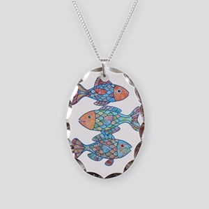 fishes 3 Necklace Oval Charm