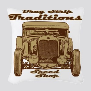 traditions speed shop Woven Throw Pillow