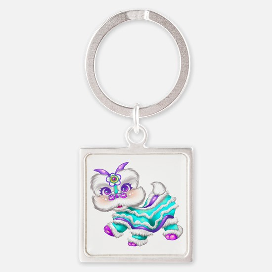 Dragon big teal Square Keychain
