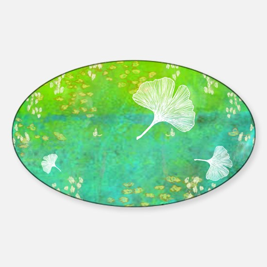 Green GInkgo tile_laptop Sticker (Oval)