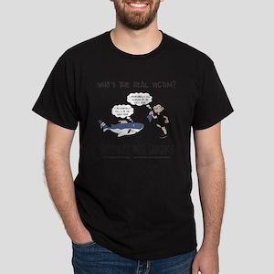 Real Victim - black text Dark T-Shirt