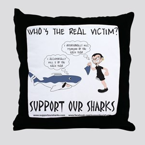 Real Victim - black text Throw Pillow