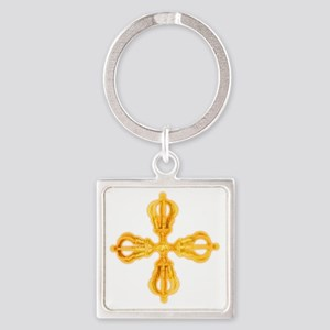 Double Dorje Square Keychain