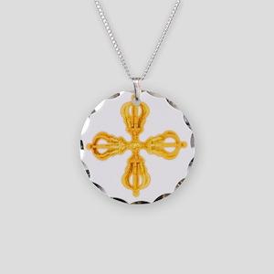 Double Dorje Necklace Circle Charm