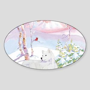 samoyed_winter_scene Sticker (Oval)