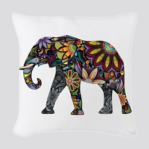 Colorful Elephant Woven Throw Pillow
