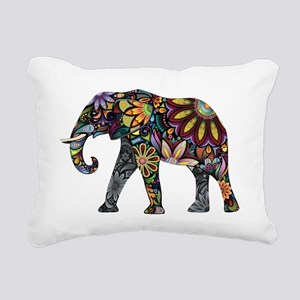 Colorful Elephant Rectangular Canvas Pillow