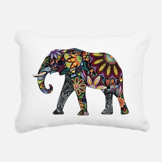 Colorful Elephant Rectangular Canvas Pillow